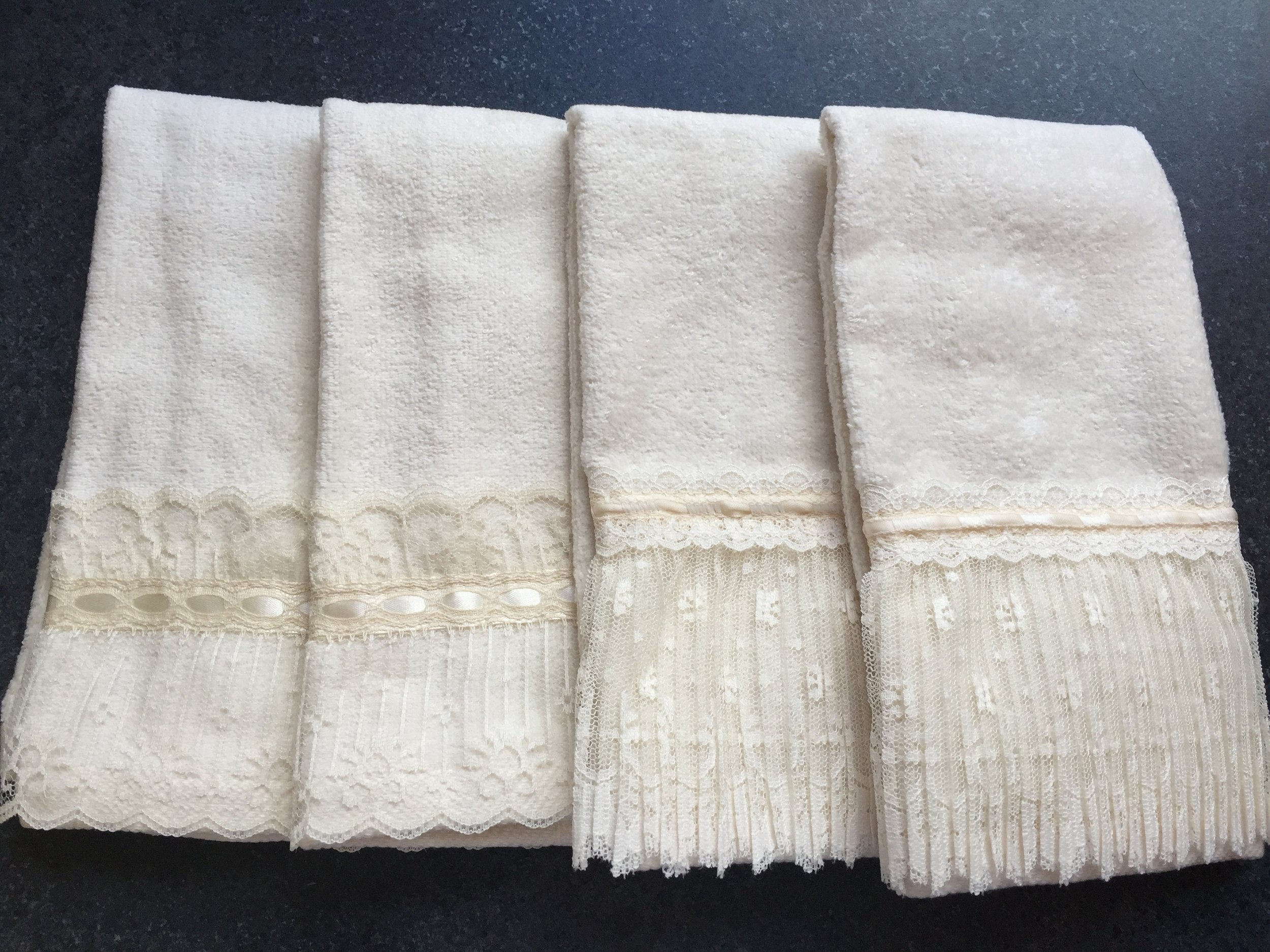 More details: We had these custom fingertip towels made by one of our artisans.