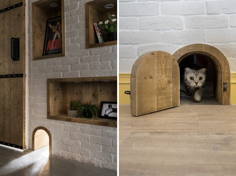 A Tokyo home designed with cats in mind. A tiny door made with reclaimed wood. Via  Designboom . Image ©  hey! cheese