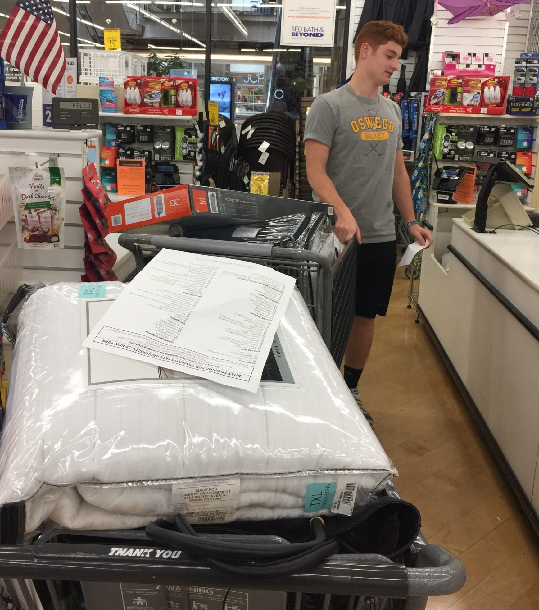 His first and only college dorm shopping trip. He's lucky he has such an awesome mom!