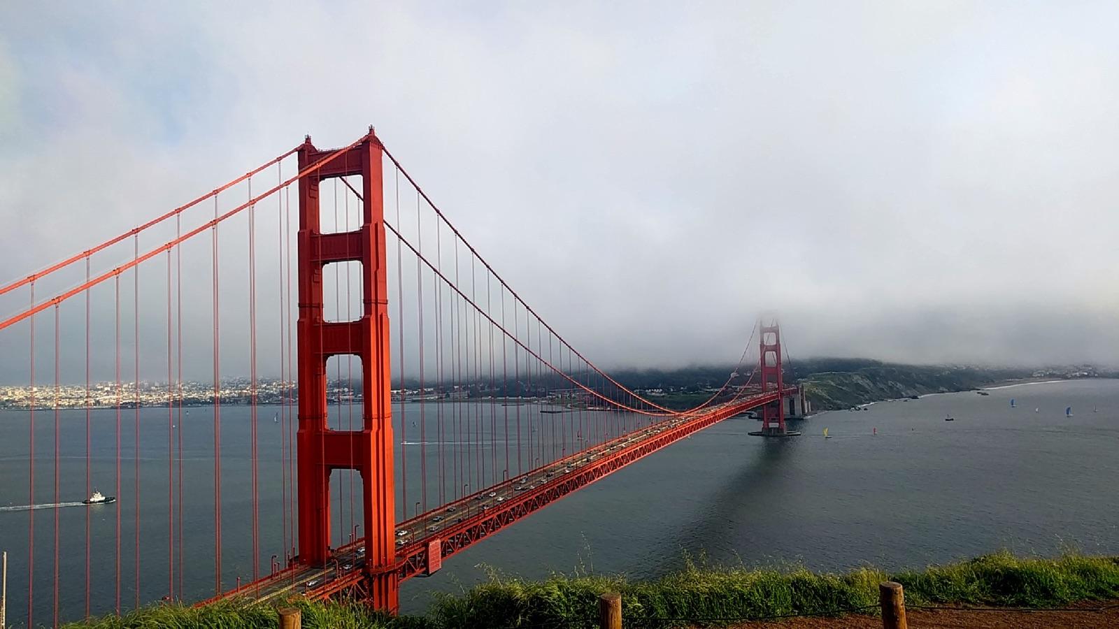 A photo of the Golden Gate Bridge taken by Iris' son.