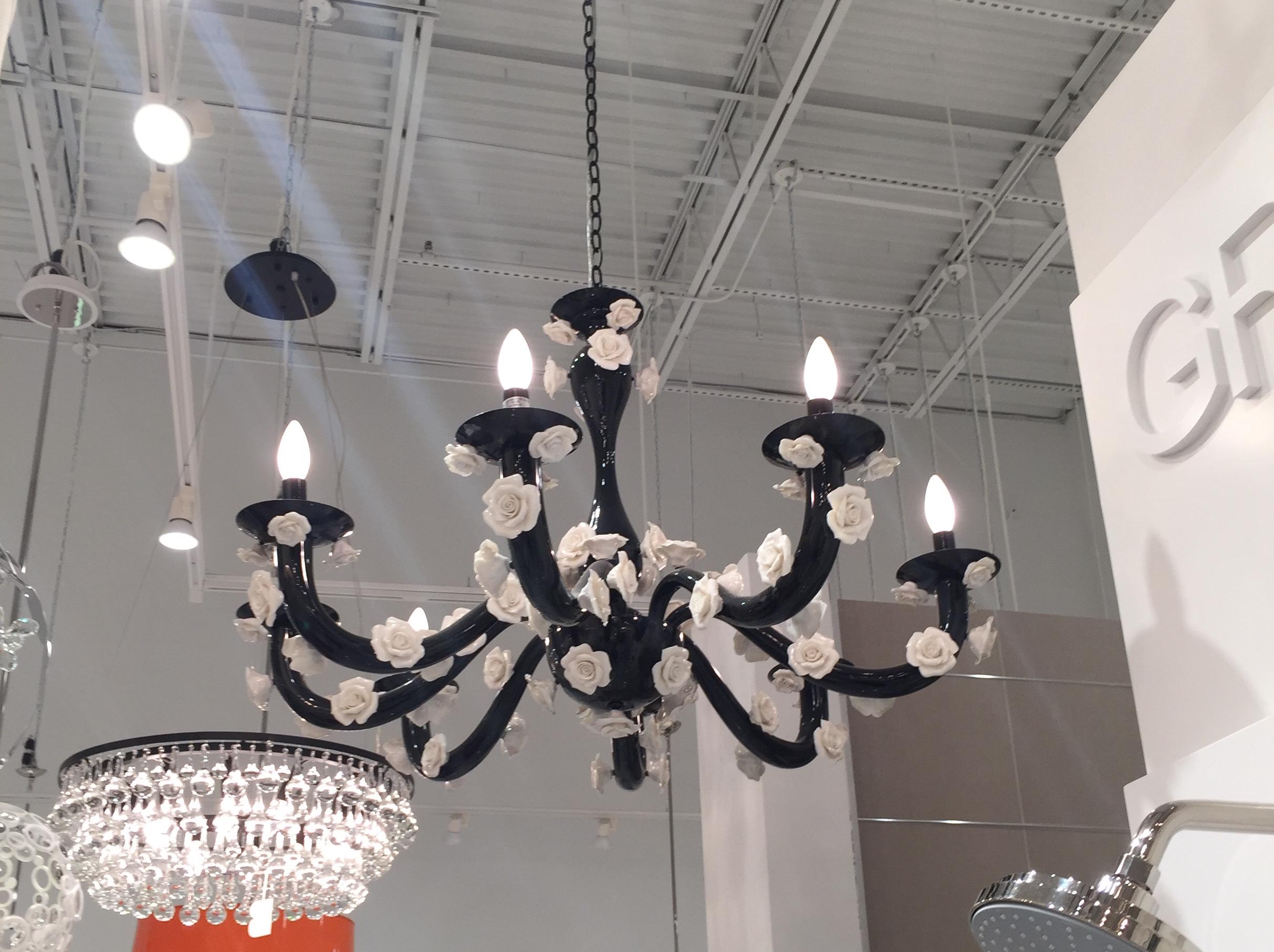 Appliqué-like details on a chandelier.
