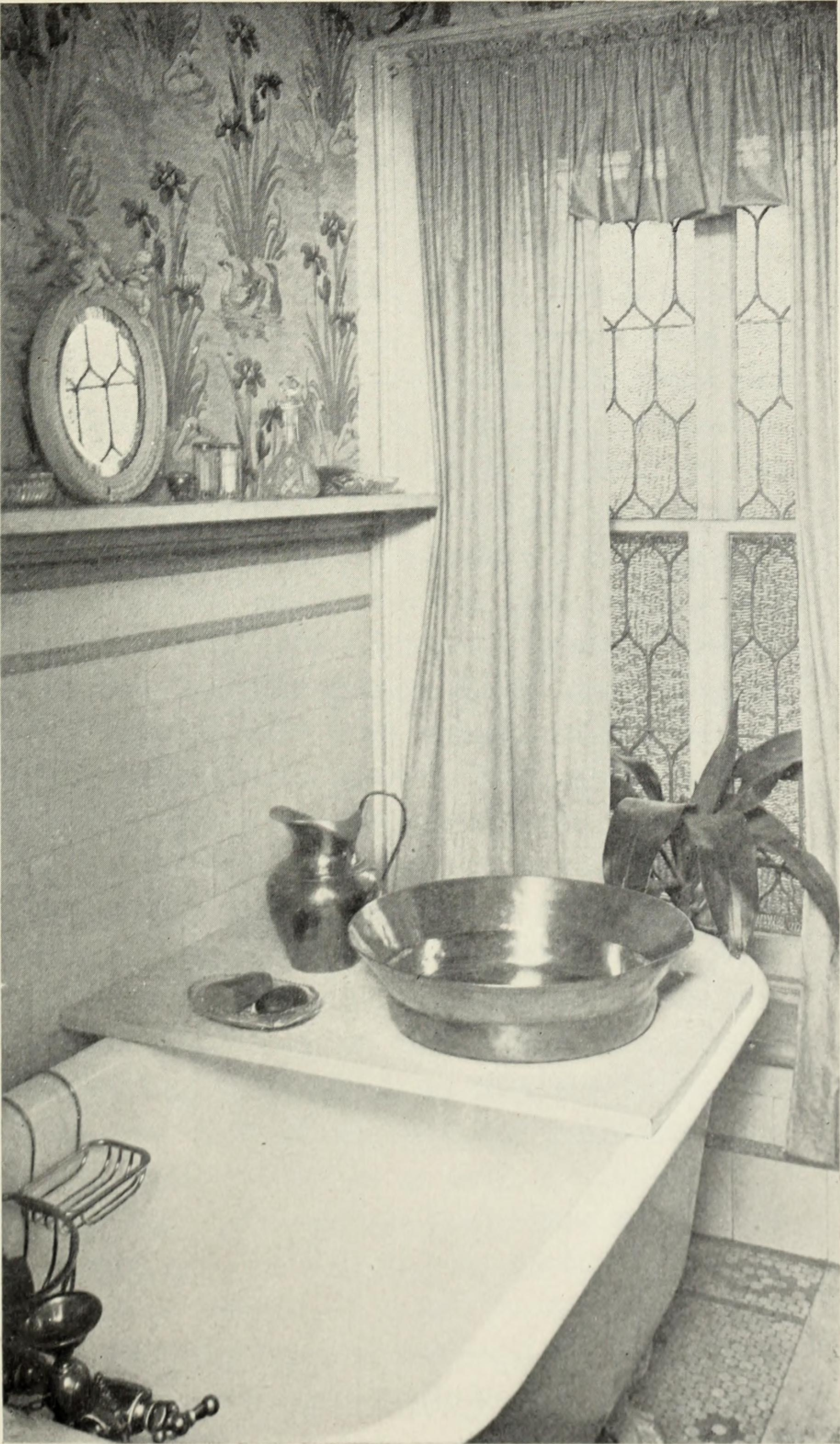 Bathroom featured in Lillie Hamilton French's  Homes and Their Decoration , Dodd, Mead and Company, New York, 1903 via  Flickr . We can't tell you what the color palette was but we  can  tell you these people weren't afraid to really go for it when it came to pattern and details.