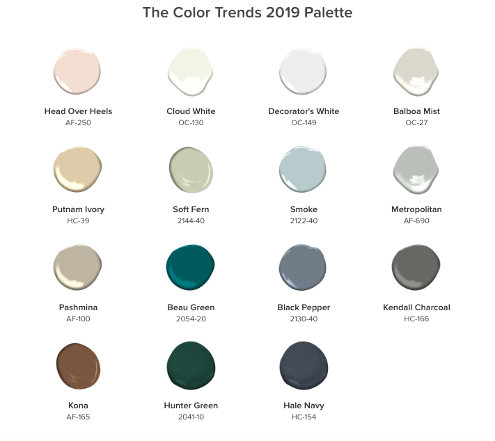 Benjamin Moore 2019 Color Trends