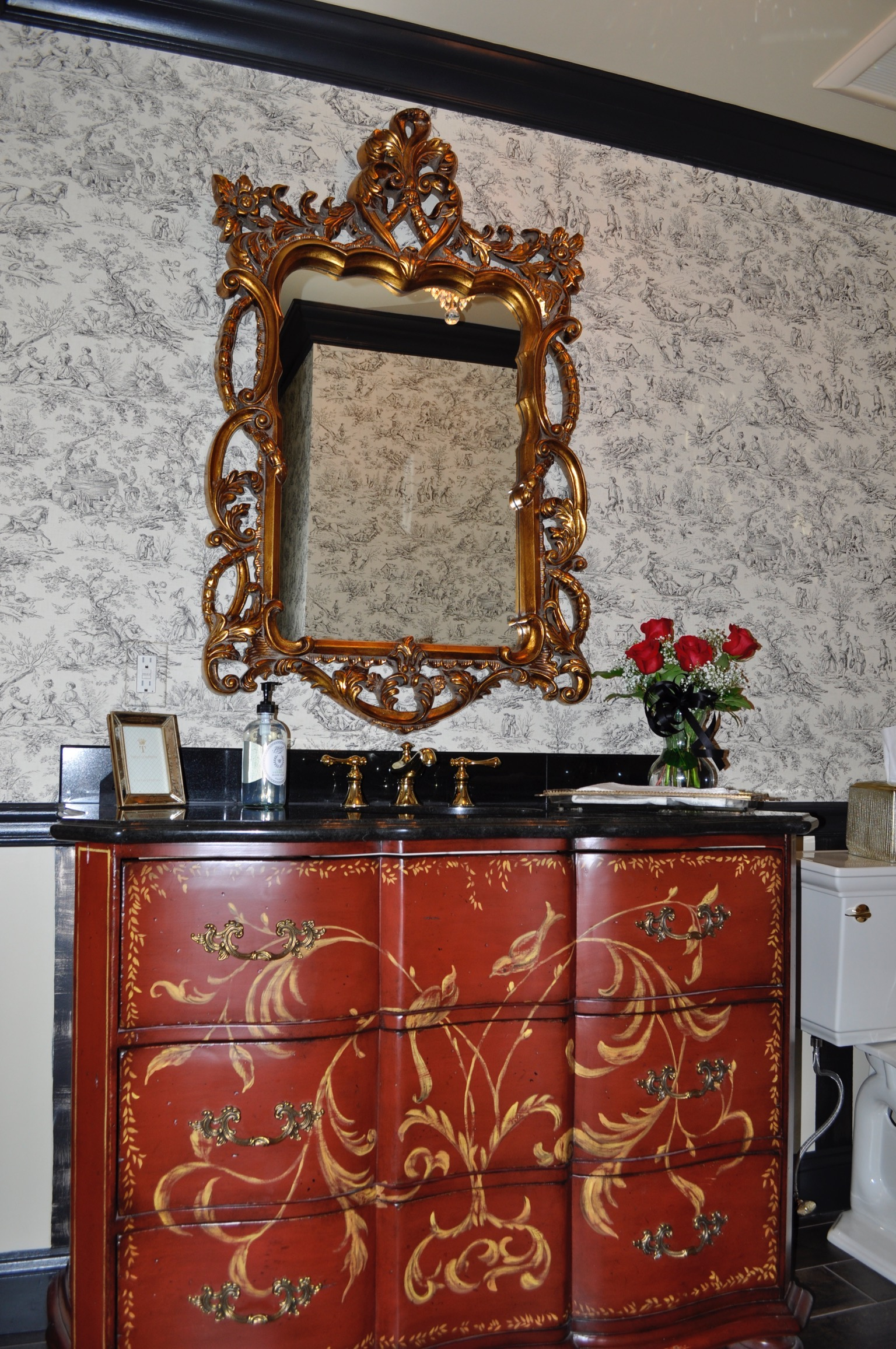 Before we purchased this red drawer chest to convert into a custom vanity for our client, we took detailed measurements and spoke with our contractor to ensure it would be possible and functional!