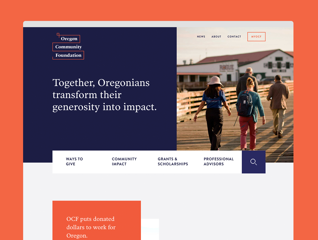 Reimagining the brand story and website of the  OREGON COMMUNITY FOUNDATION , Smith and Connors