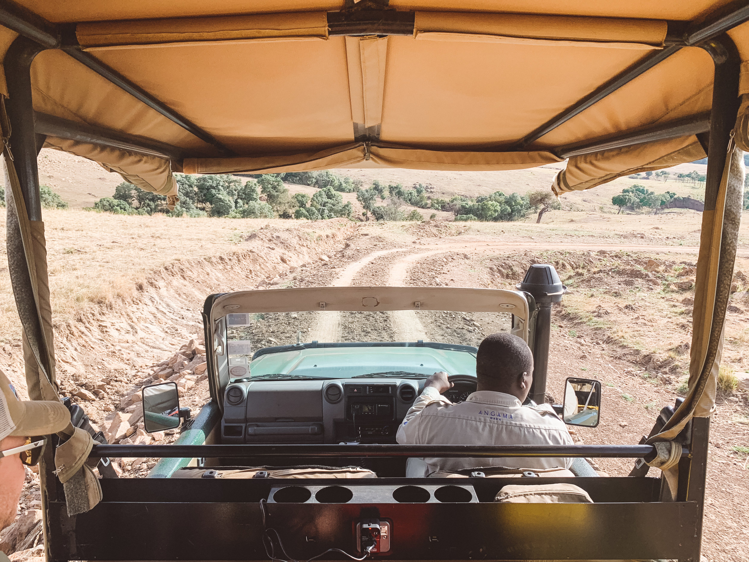 Descending into the Mara with Geoffrey, our knowledgable safari guide..