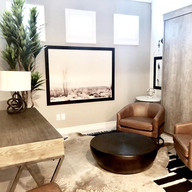 """Installation is always a fun day! This tiny room was transformed. My client bought a model home """"as is"""" as a second home and didn't love the transitional decor. We are making changes room by room. She wanted something more rustic and to reflect a bit of Arizona.  We call it """"new rustic"""" with contemporary lines, a neutral color palette, warm woods and rustic metals.  We converted it from an office to a den that doubles as a guest bedroom (Murphy bed). You can't see it in this photo but we covered the wallpaper with simple white vertical shiplap and it had a new feel overnight. Swipe for before photo.  Style and function working together - it reflects her personality and meets the needs of her family. . #wholeheartedathome #wholeheartdesign #iphonephotos #interiordesign #interiors #interiordesigner #designblog"""