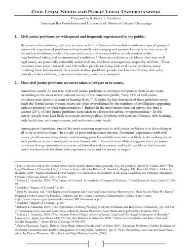 CIVIL LEGAL NEEDS AND PUBLIC LEGAL UNDERSTANDING - Rebeeca Sandafur