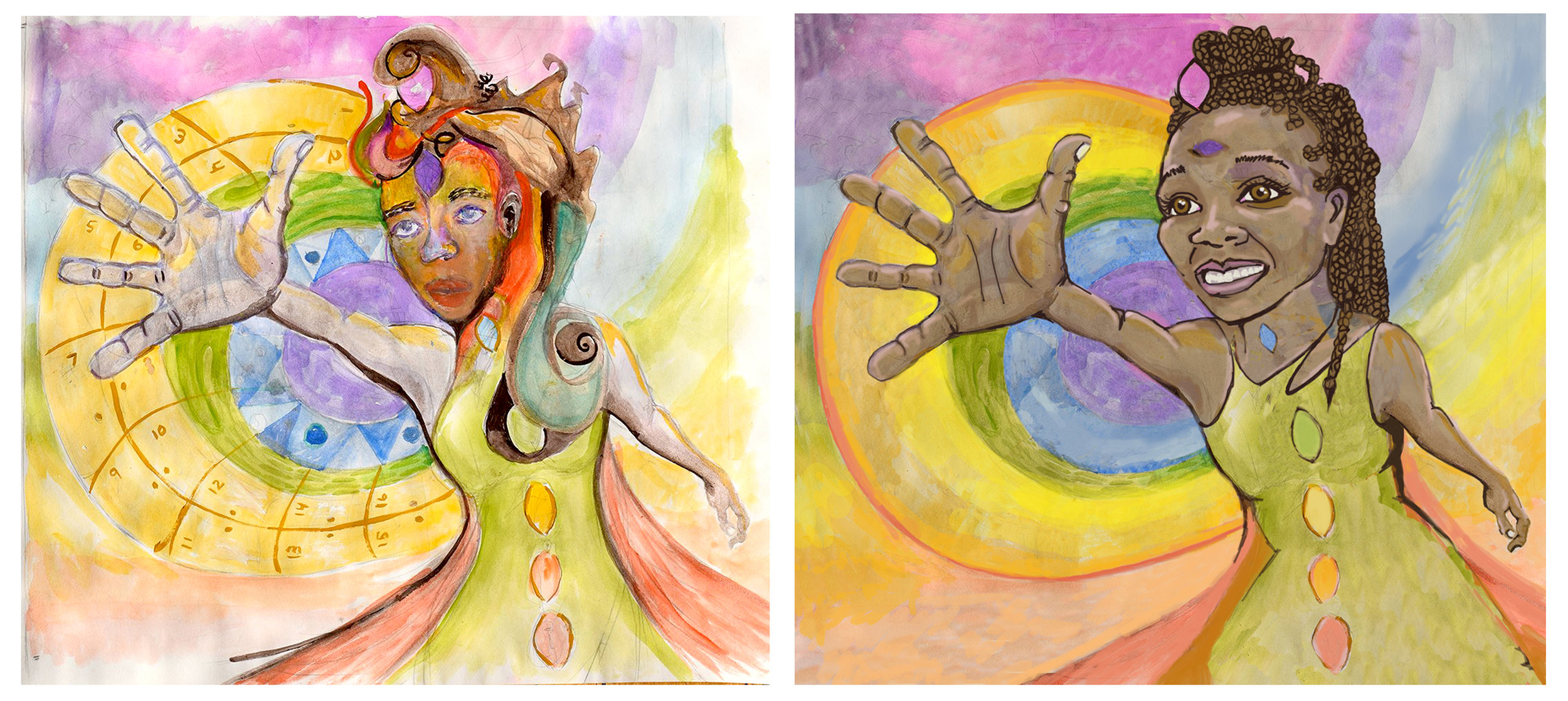 "LEFT: Original design used in the application for the Public Art Building Communities grant, jointly authored by Aja Adams and Lisa Marie Thalhammer. RIGHT: ""New"" image approved by the grantors for the mural, sole authorship claimed by Lisa Marie Thalhammer. Used by the former to retain grant monies without permission by co-creator Aja Adams."