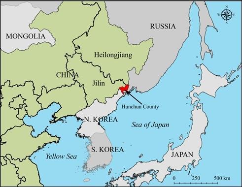 Hunchun, China, bordering Russia and North Korea.