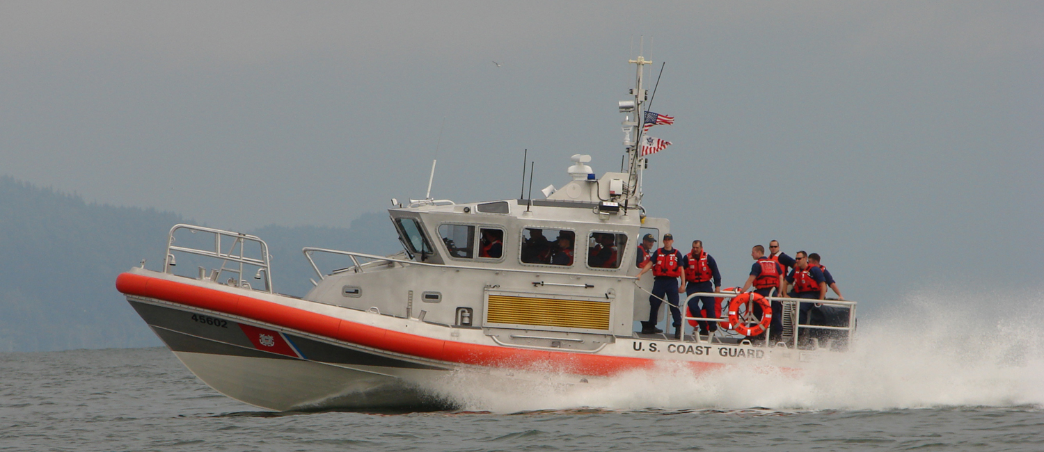 US Coast Guard personnel aboard the latest generation   Response Boat, Cape Disappointment, WA