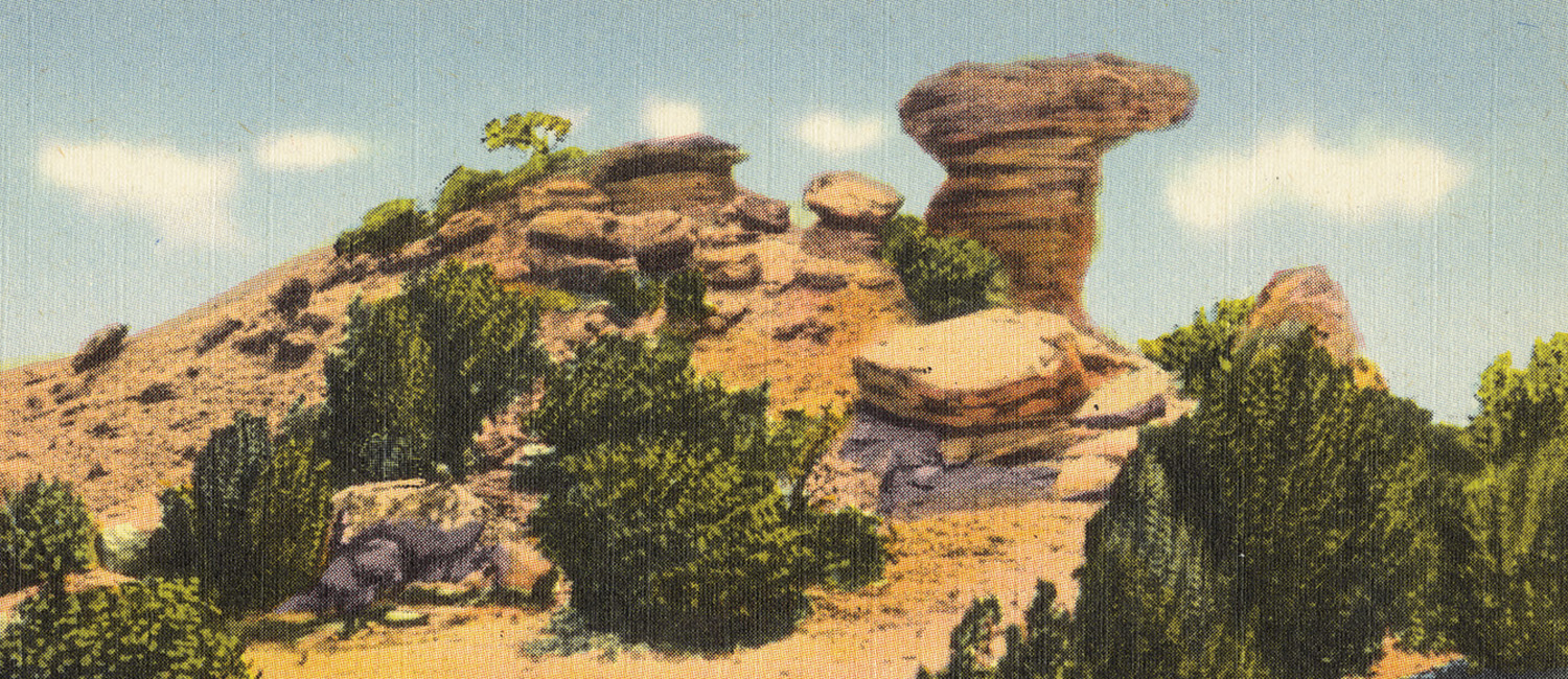 Postcard from the 1930s showing Camel Rock, a famous local landmark located on Tesuque Pueblo near Pojoaque, NM