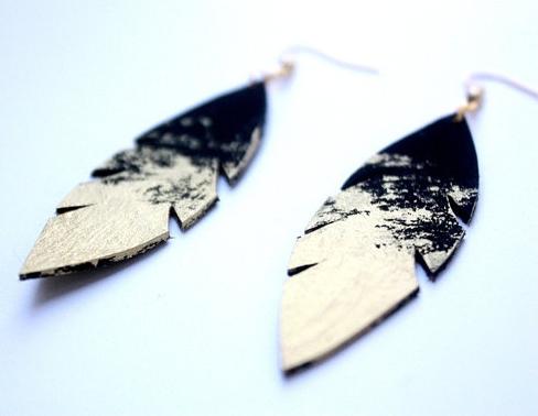 Repurposed leather earrings