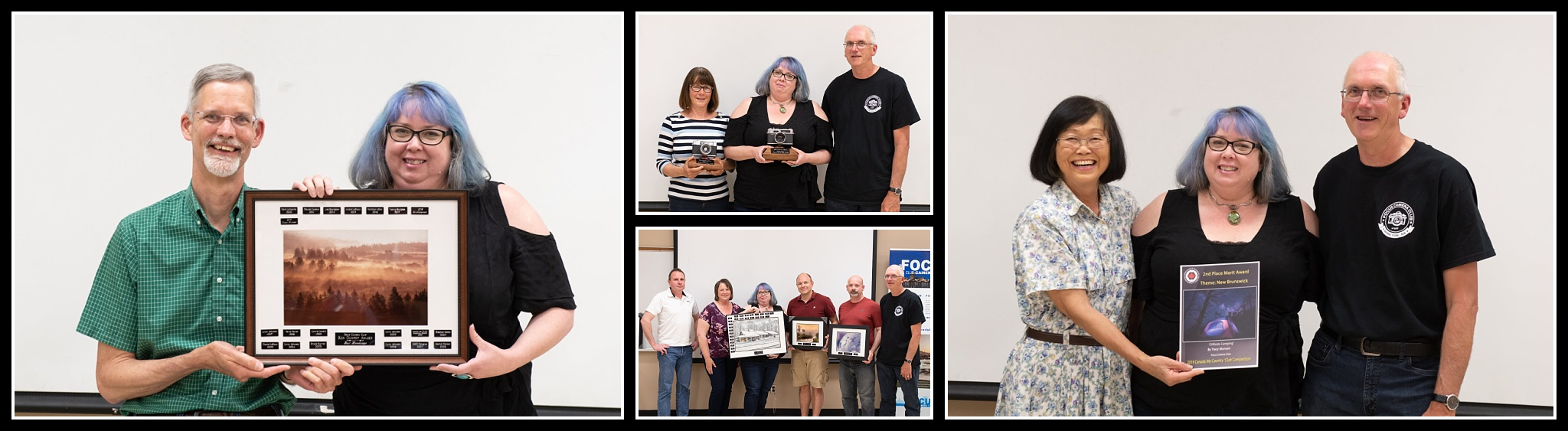 Left : the Ken Dunphy Landscape Award,  Top Centre : Best New Recruit (Advanced),  Bottom Centre:  Advanced Photographer of the Year,  Right:  A second place Merit from CAPA. Photos courtesy of  Paula Lirette .