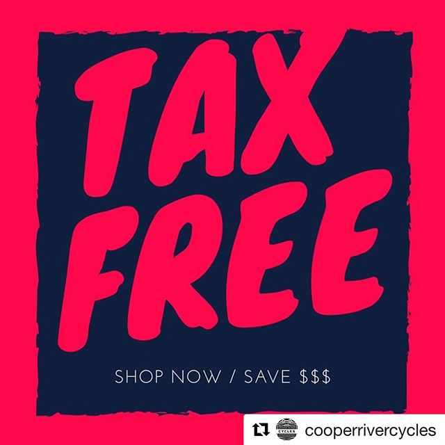 ・・・ SHOP TAX FREE this weekend! Sale starts today! Save across the store and even on marked down items! Take an additional 10% off all accessories when purchased with a bike. This sale includes closeout, demo, and current model bikes! #taxfreeweekend #shop #backtoschool #newbike #save #charleston #charlestoncycling
