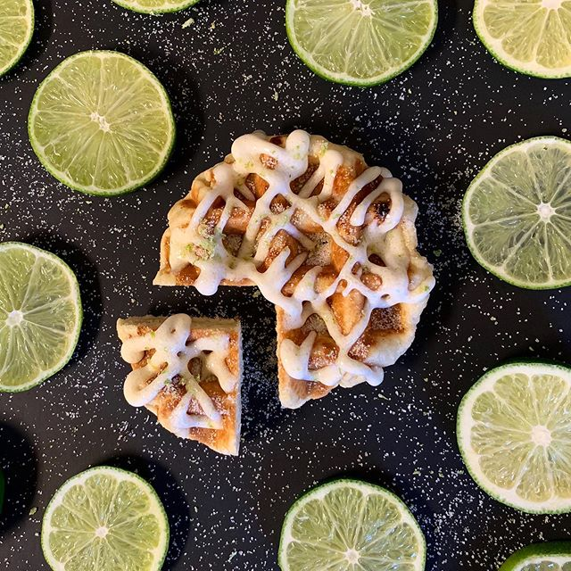 "Introducing ""The Major Key!"" Our newest Waffle of the Week comes topped with homemade Lime Cream Sauce plus our famous Lime Cream Drizzle. We then finish it off with Fresh Lime Sugar. #WoW #Yum [Available 05.29 - 06.04] . . . #KeyLime #MajorKey #GetSmashed #GetLucky #WoW #KeyLimePie #Waffles #Love #InstaLove #Food #FoodPorn #InstaFood #RaleighNC #Yum #Nom #Foodgasm #FoodPhotography"