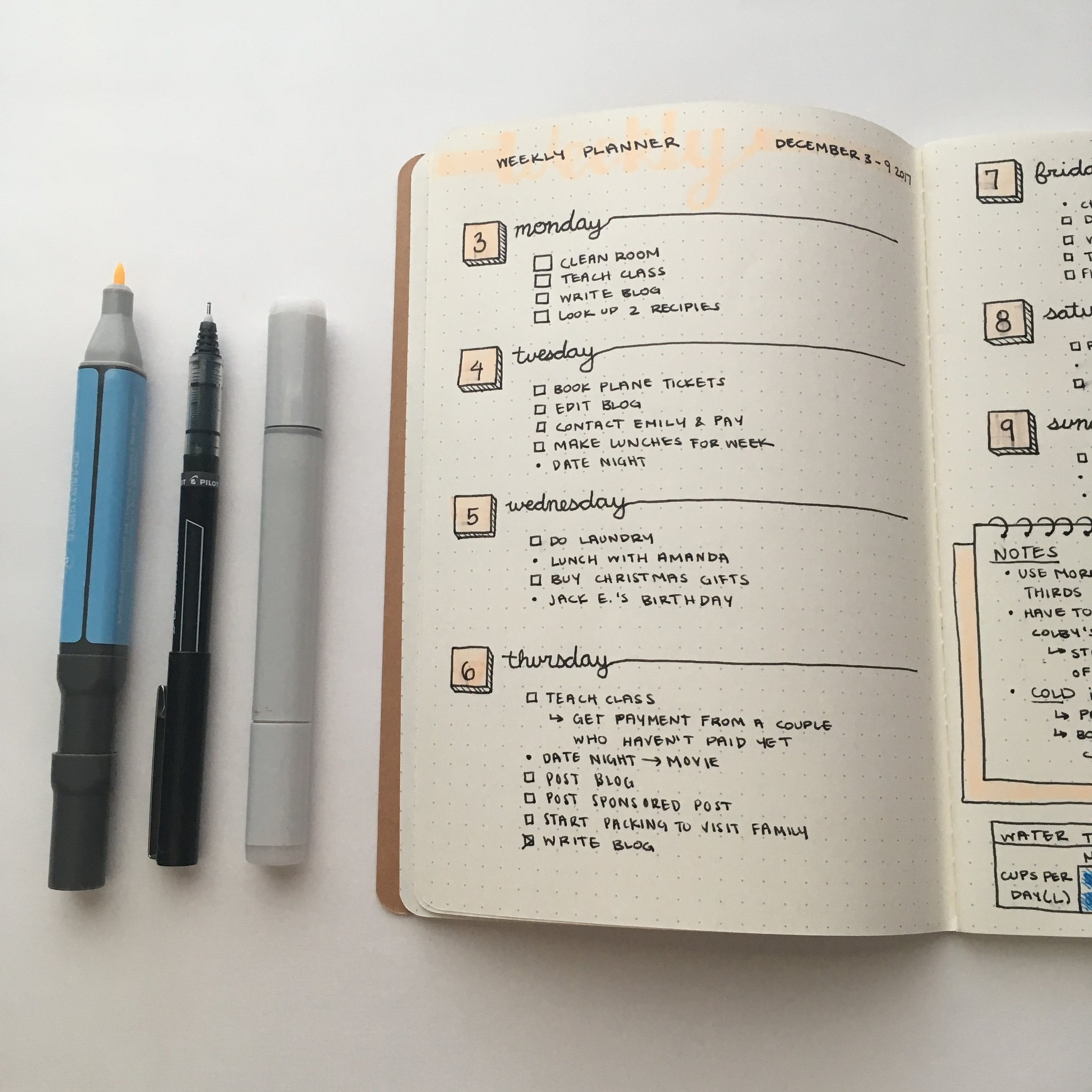 A bullet journal (like mine, pictured above) is one easy way to keep track of everything you need to get done for the week.