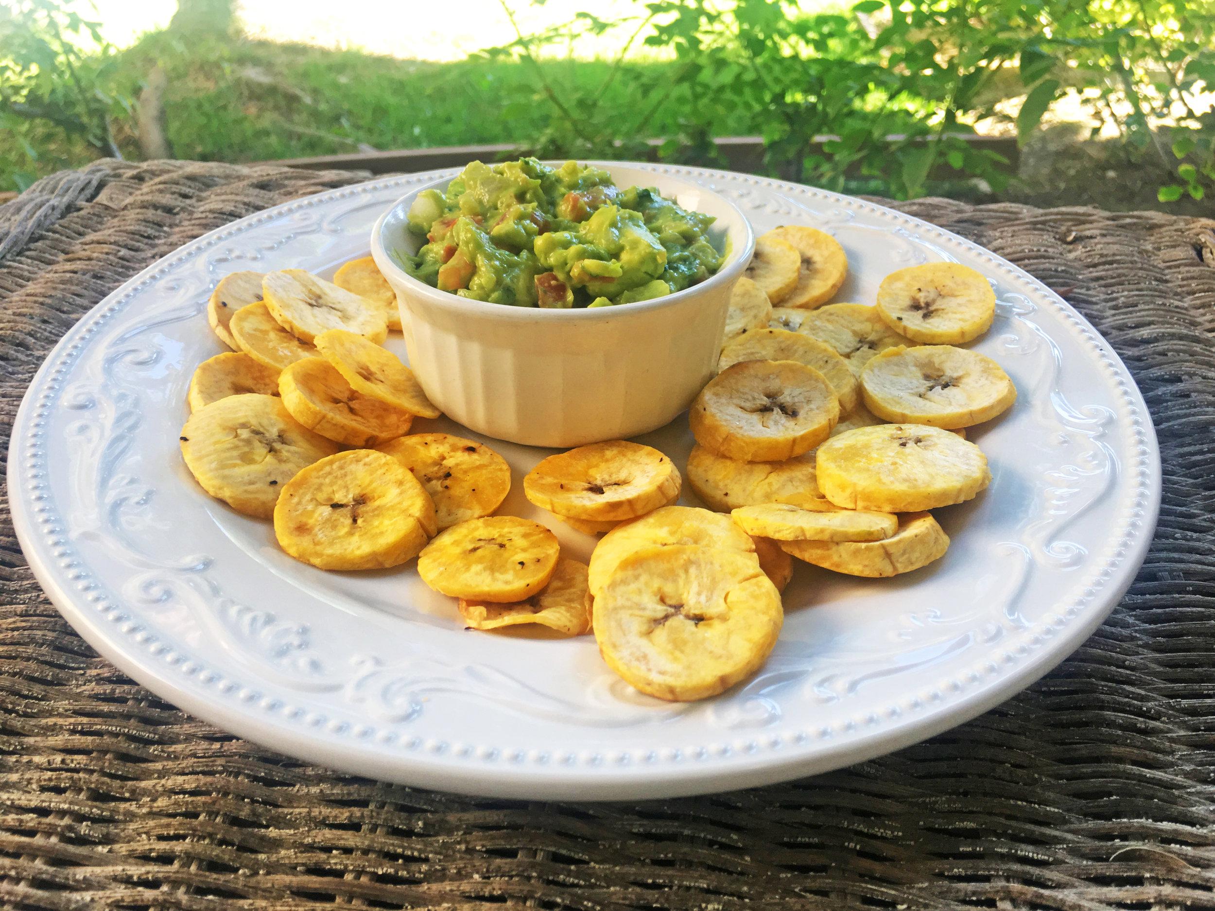 Plantain chip and healthy guacamole recipe