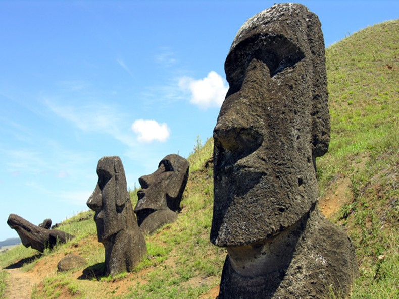 Moai statues on Easter Island, carved by the Rapa Nui people between 1250-1500 CE