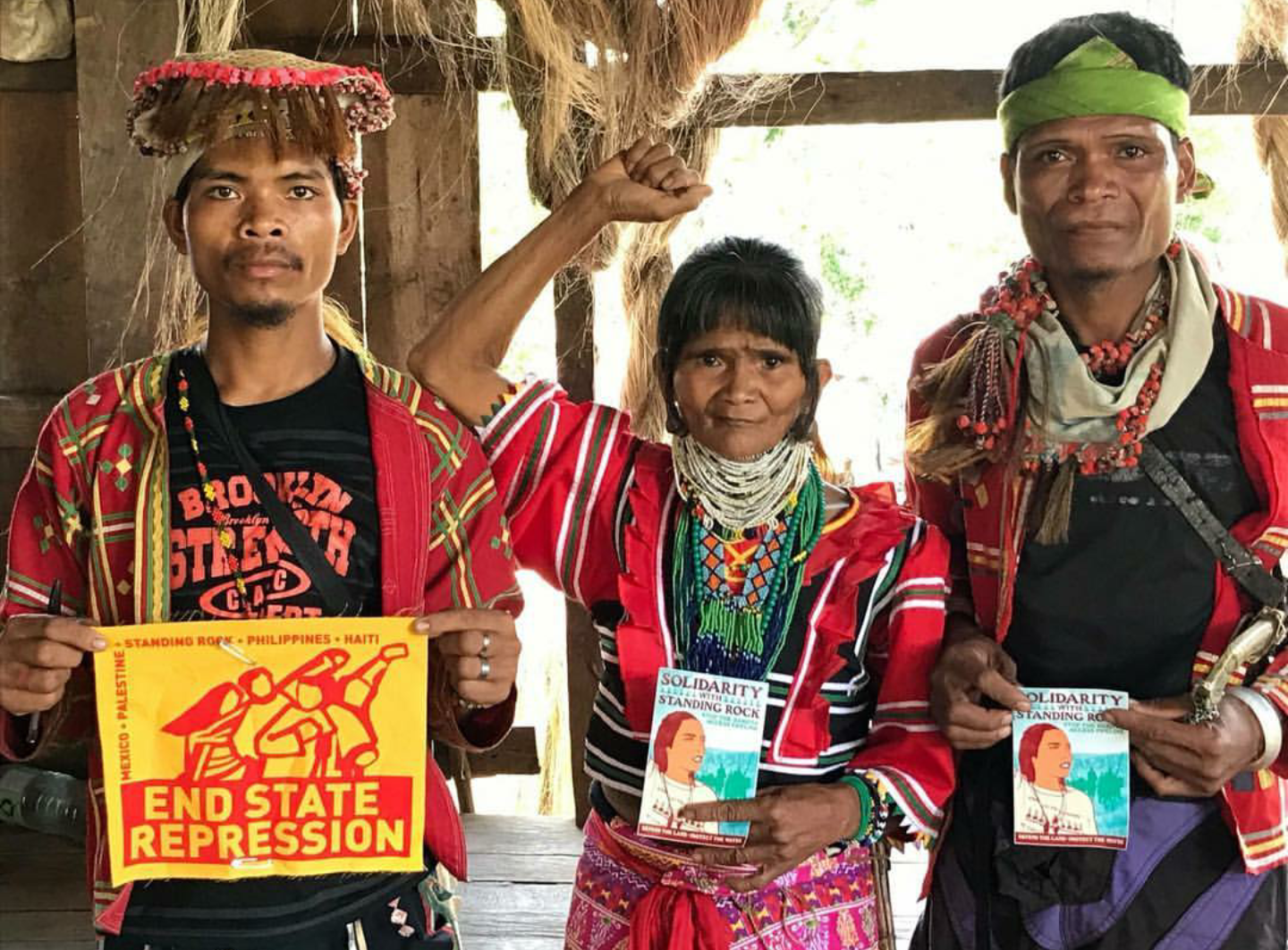 Salupongan Ta Tanu Igkanugon (Unity in Defense of Ancestral Land) Indigenous leaders stand in solidarity with the Indigenous leaders and supporters facing state repression in Standing Rock, Mexico, Palestine, Haiti, and all over the world / Photo courtesy of  Salupongan International , 2017