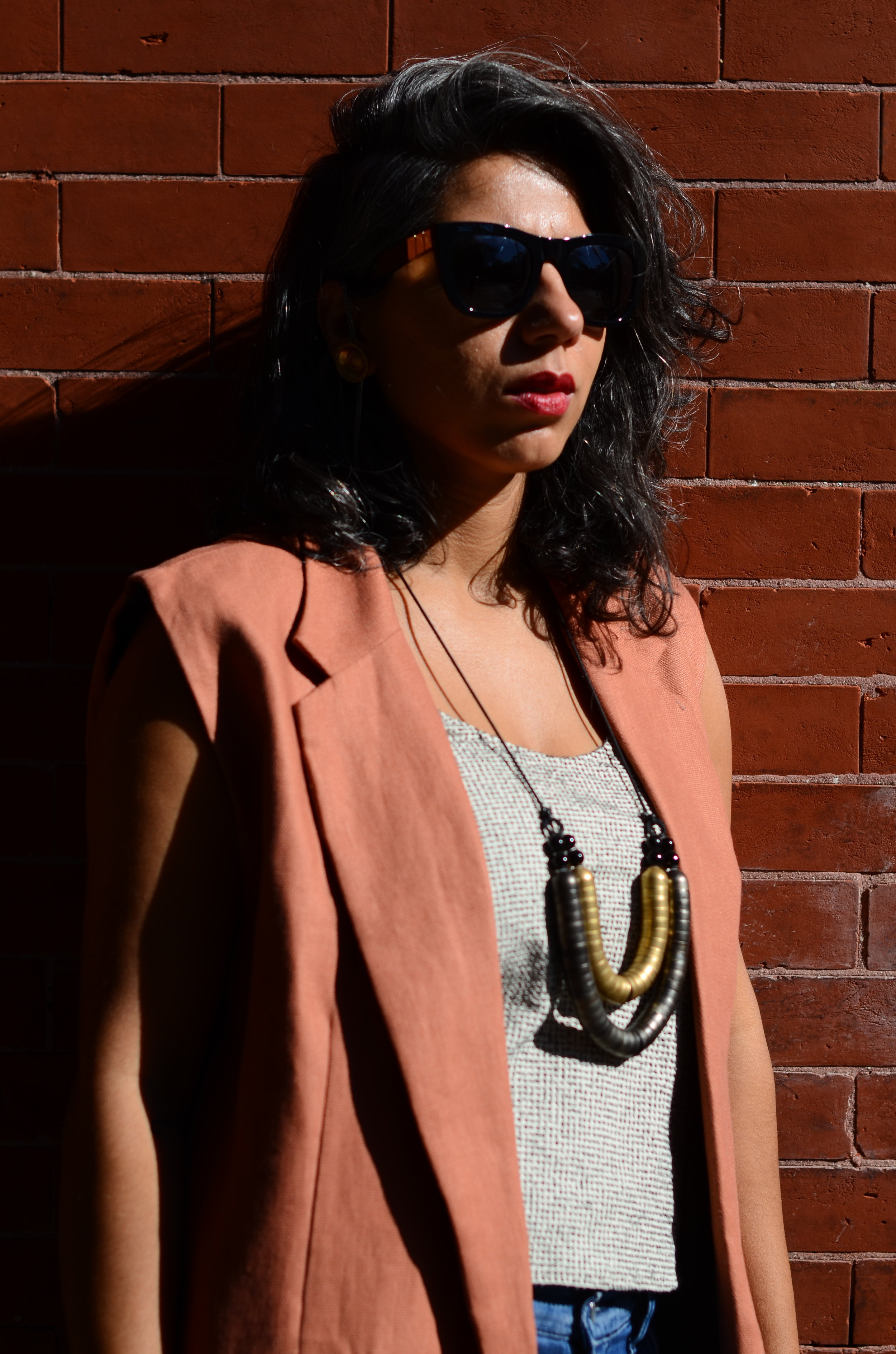 Sadia of The FashionEdit in CHAN + KRYS Fall 2016 Telegraph Vest and Osprey Tank / Photo by Raja Ali