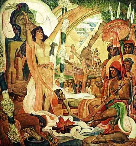 "Detail of a babaylan from the mural ""History of Philippine Medicine"" by Carlos ""Botong"" Francisco"