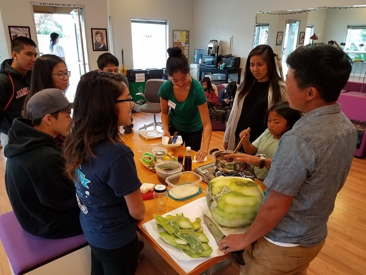 Seedsaving and cooking with youth and Kristyn of Namu Farm at Filipino Advocates for Justice / Photo courtesy of the author