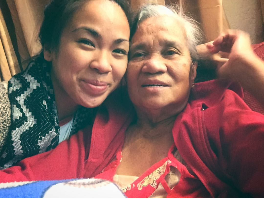 The author with her grandmother, March 2017