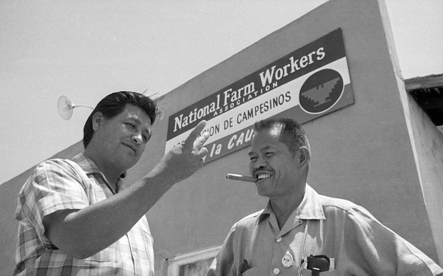 United Farm Workers leaders Cesar Chavez and Larry Itliong. Source: AP/Harold Filan