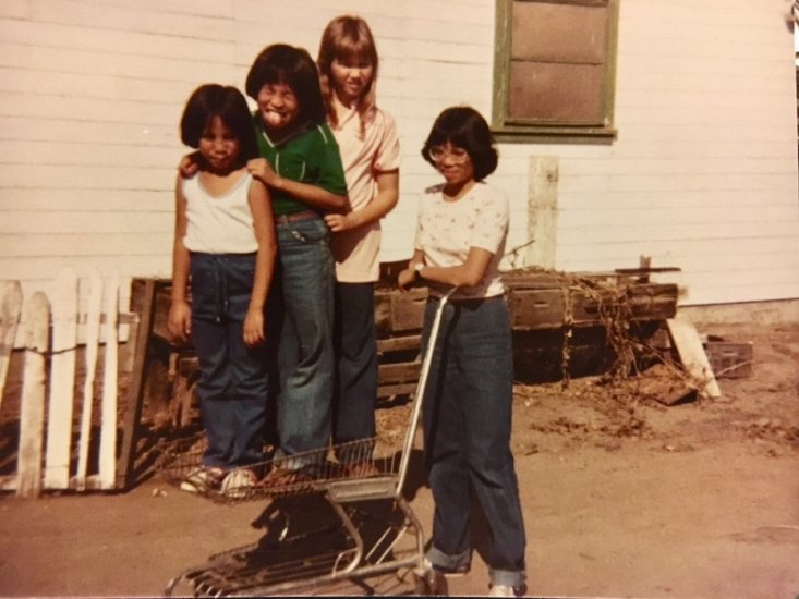 Gayle Romasanta (youngest in the photo) with her sisters and cousin. Source: Author's Personal Collection