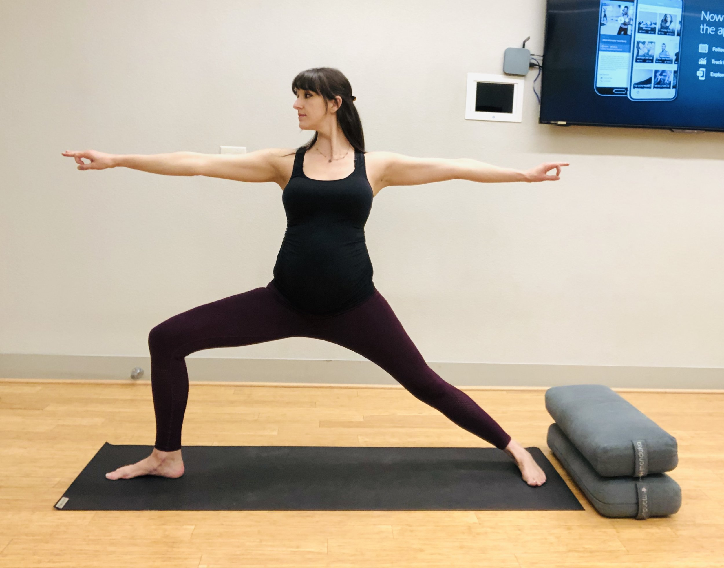 Warrior Pose. Stack bent knee over ankle.