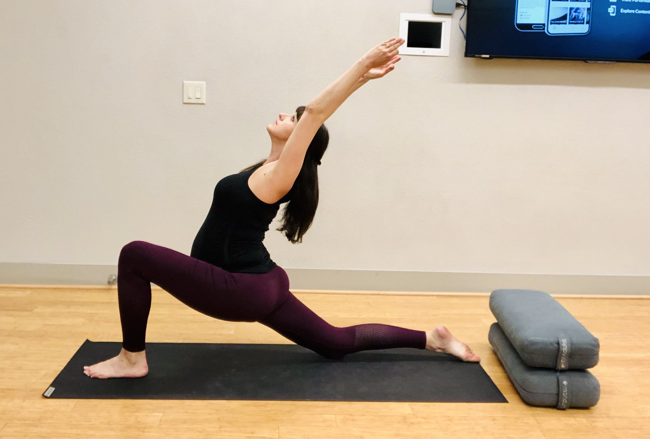 Crescent Lunge on knee. Be sure front knee is over ankle and hips are moving down towards the mat.