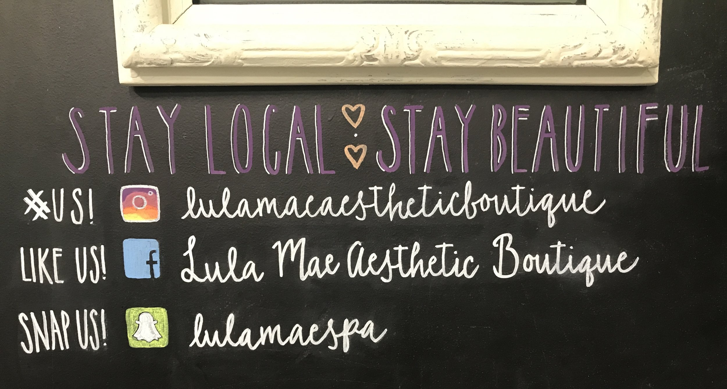 Follow us! - Stay up to date on current Lula Mae Spa trends. #lulamaespa