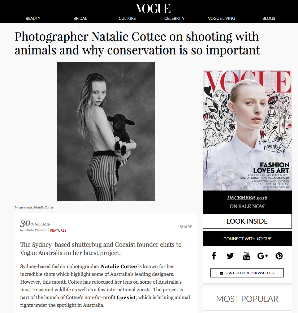Natalie Cottee chats to Vogue Australia