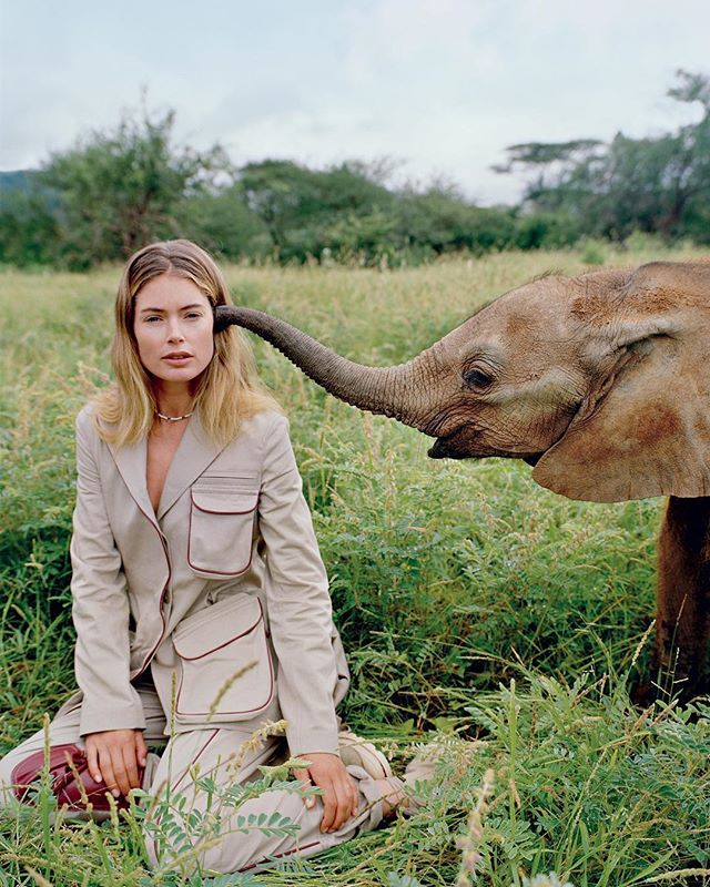 """@doutzen for @knotonmyplanet - """"I don't want my kids to grow up in a world without elephants in the wild. This could become a reality if we don't do something."""" Photographed by @nadineijewere courtesy of The Reteti Elephant Sanctuary @r.e.s.c.u.e @elephantcrisisfund #coexistthemovement"""