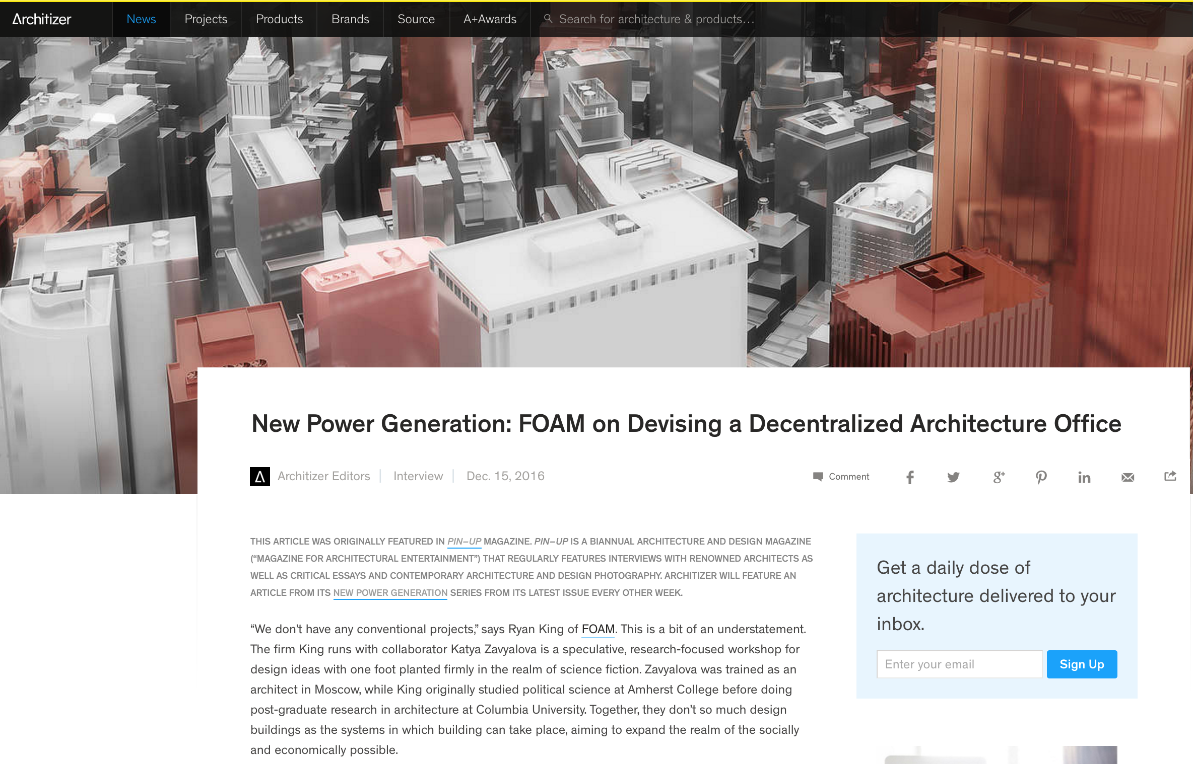 Architizer - New Power Generation: FOAM on Devising a Decentralized Architecture Office - December 2016