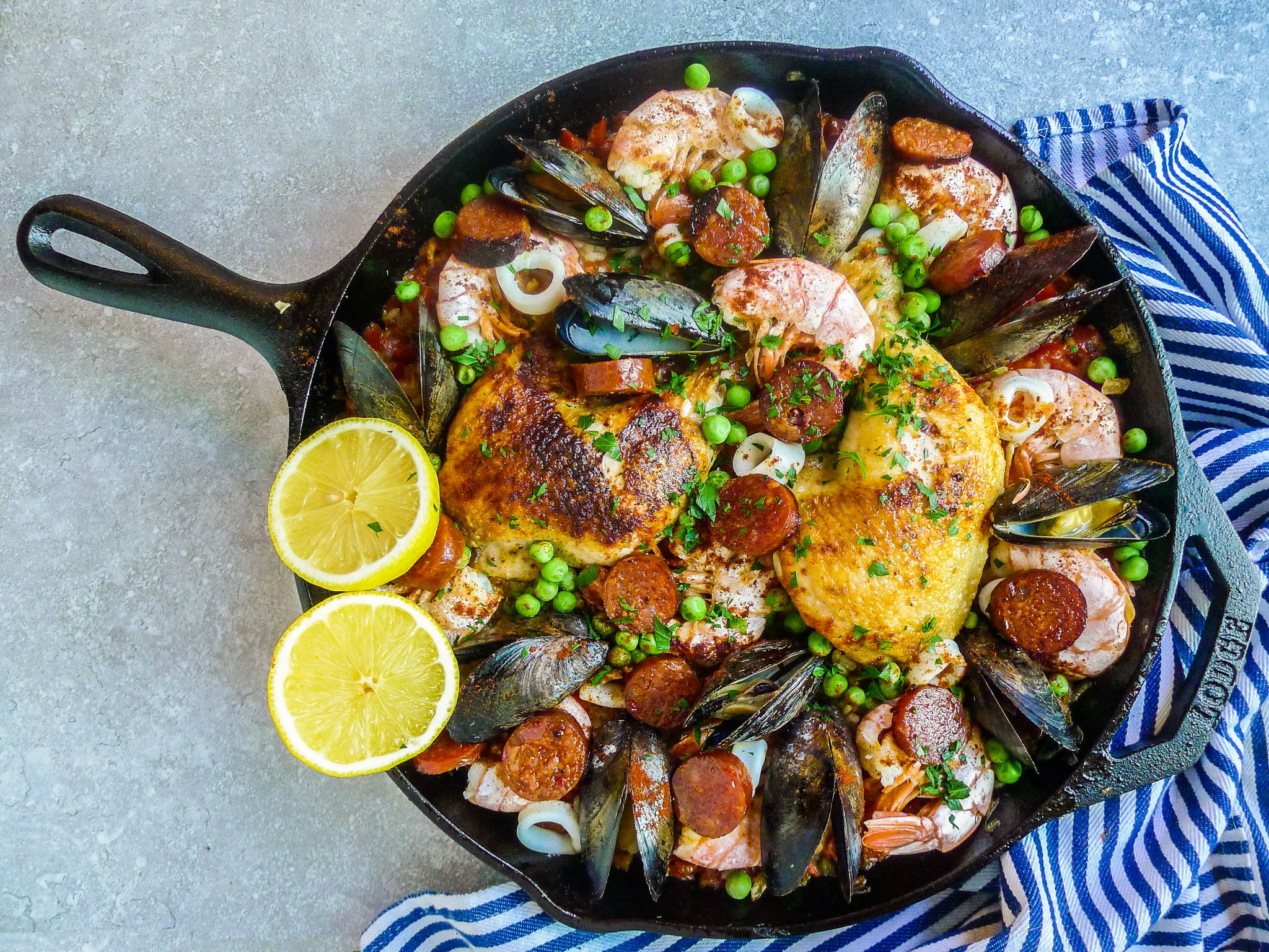 PAELLA WITH CHICKEN, CHORIZO & SEAFOOD