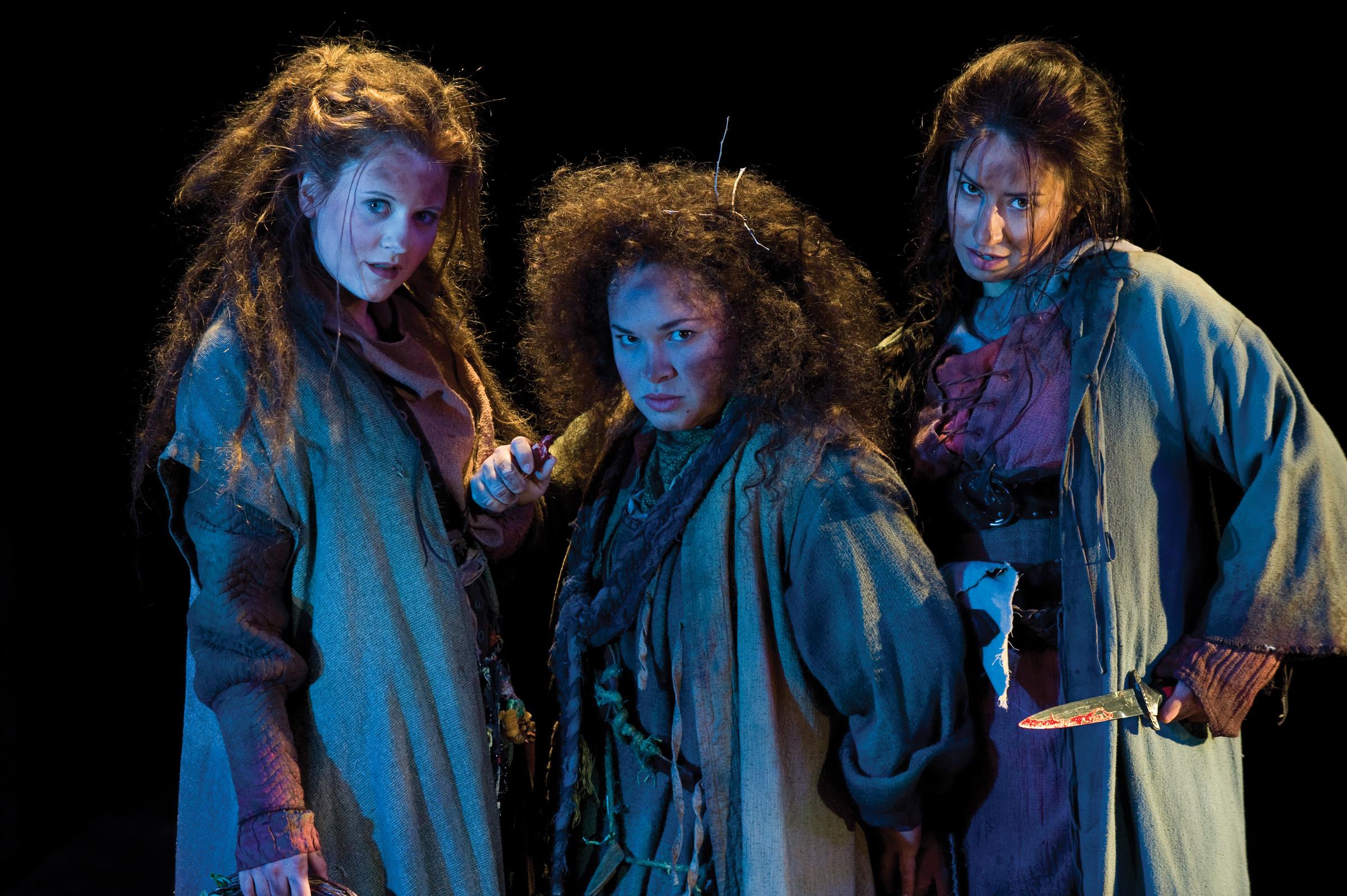 Chelsea Steverson (left), Lillian Castillo, and Monica Lopez as Weyward Sisters in  Macbeth, 2010. (Copyright Utah Shakespeare Festival. Photo by Karl Hugh.)