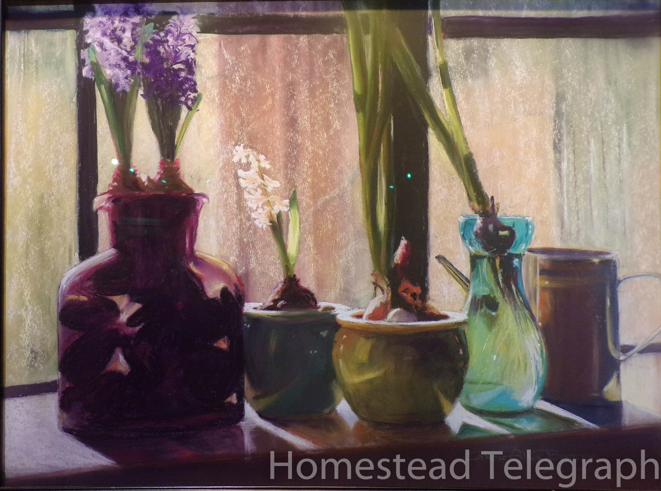 Carol Allen Bentley,  Library Window,  2016 Pastel and Watercolor 28x22