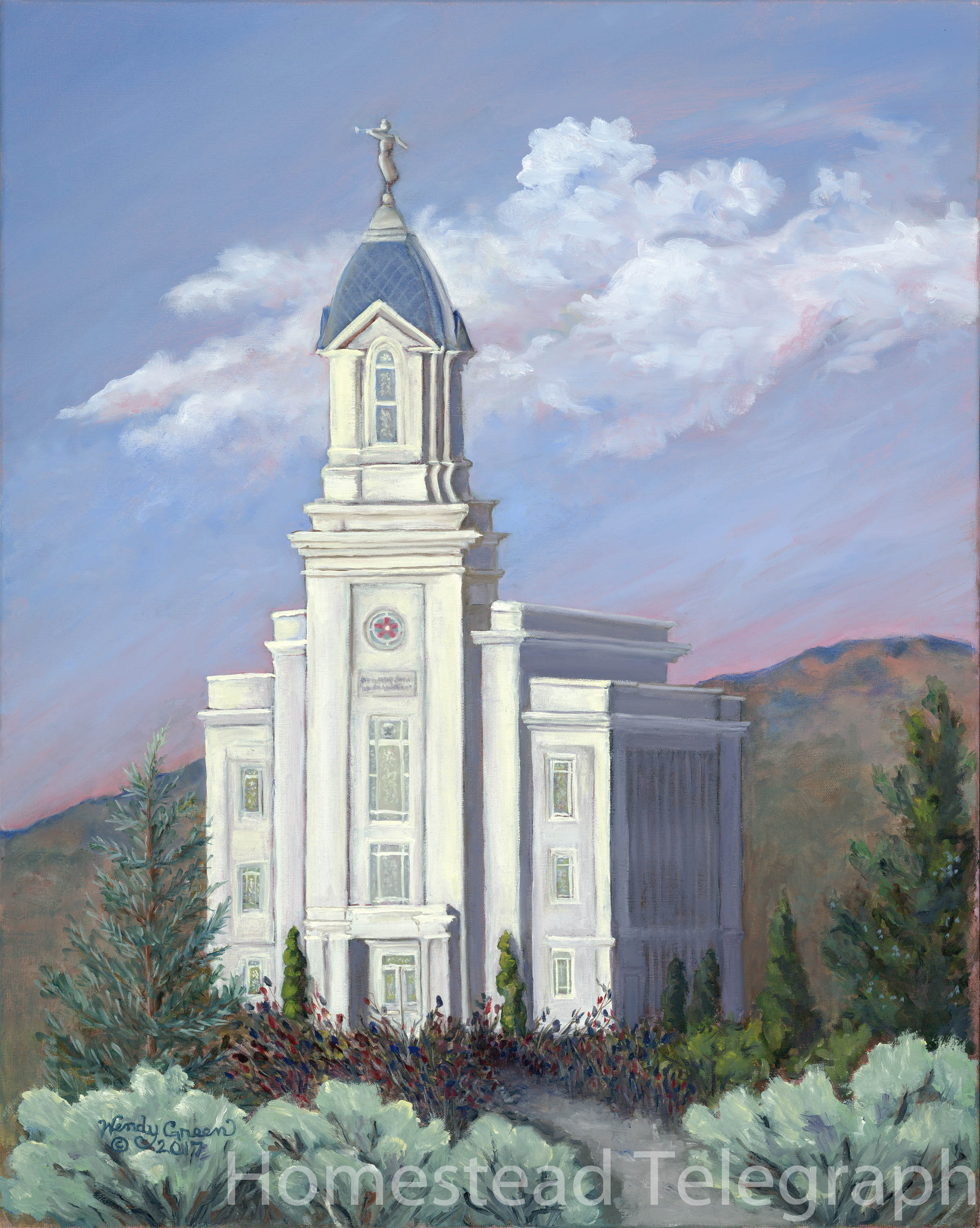 Wendy Green,  Cedar City Temple,  2017 Oil on Canvas 24x30