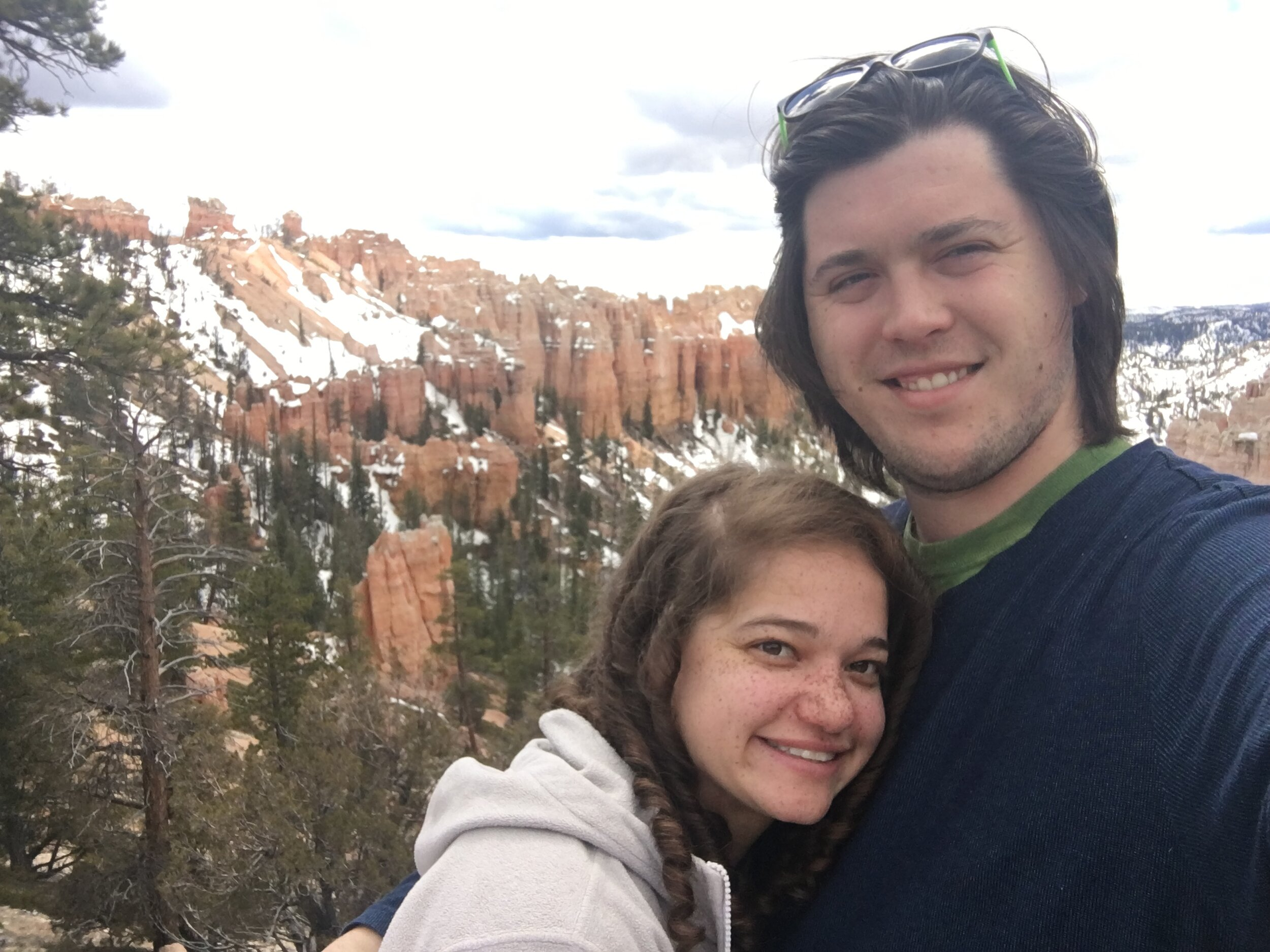 At Bryce Canyon with her husband.