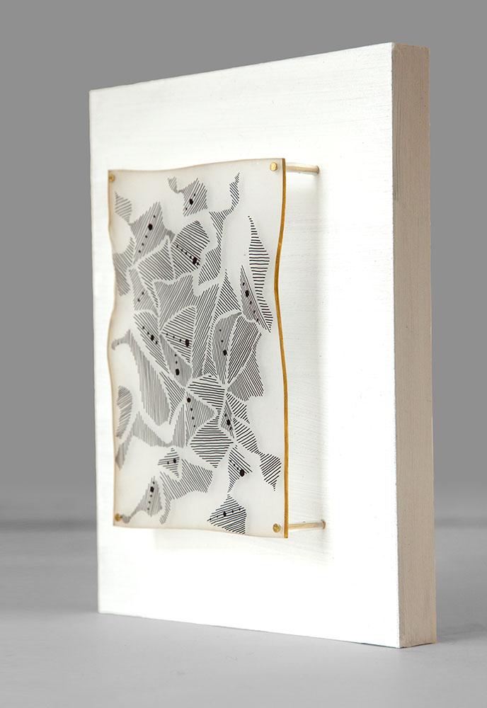 Fingerprints , 2017. Ink, plastic and acrylic on panel. 14 x 18 cm