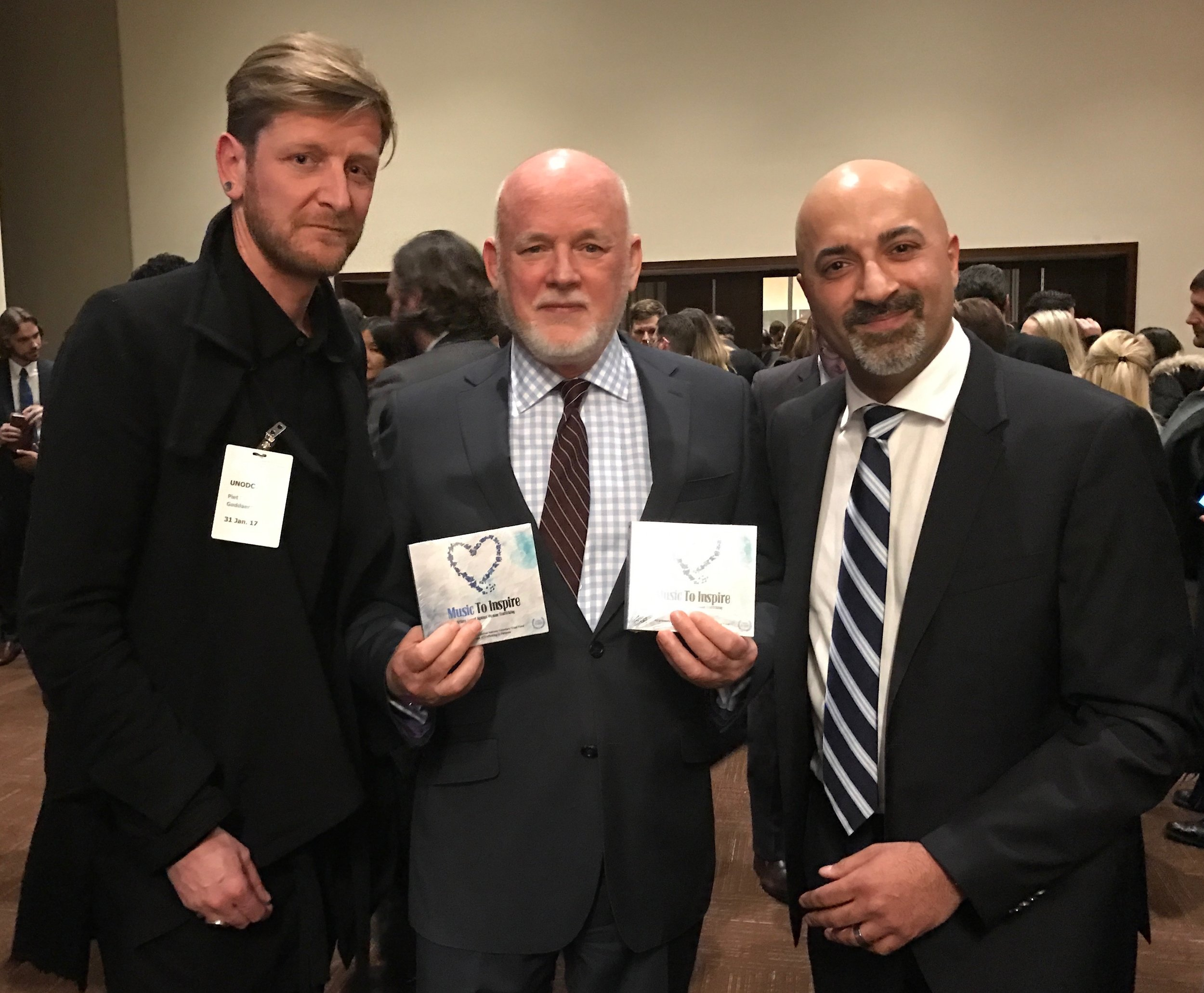 Ozark Henry, H.E. UN General Assembly President Peter Thompson, & Sammy Chand
