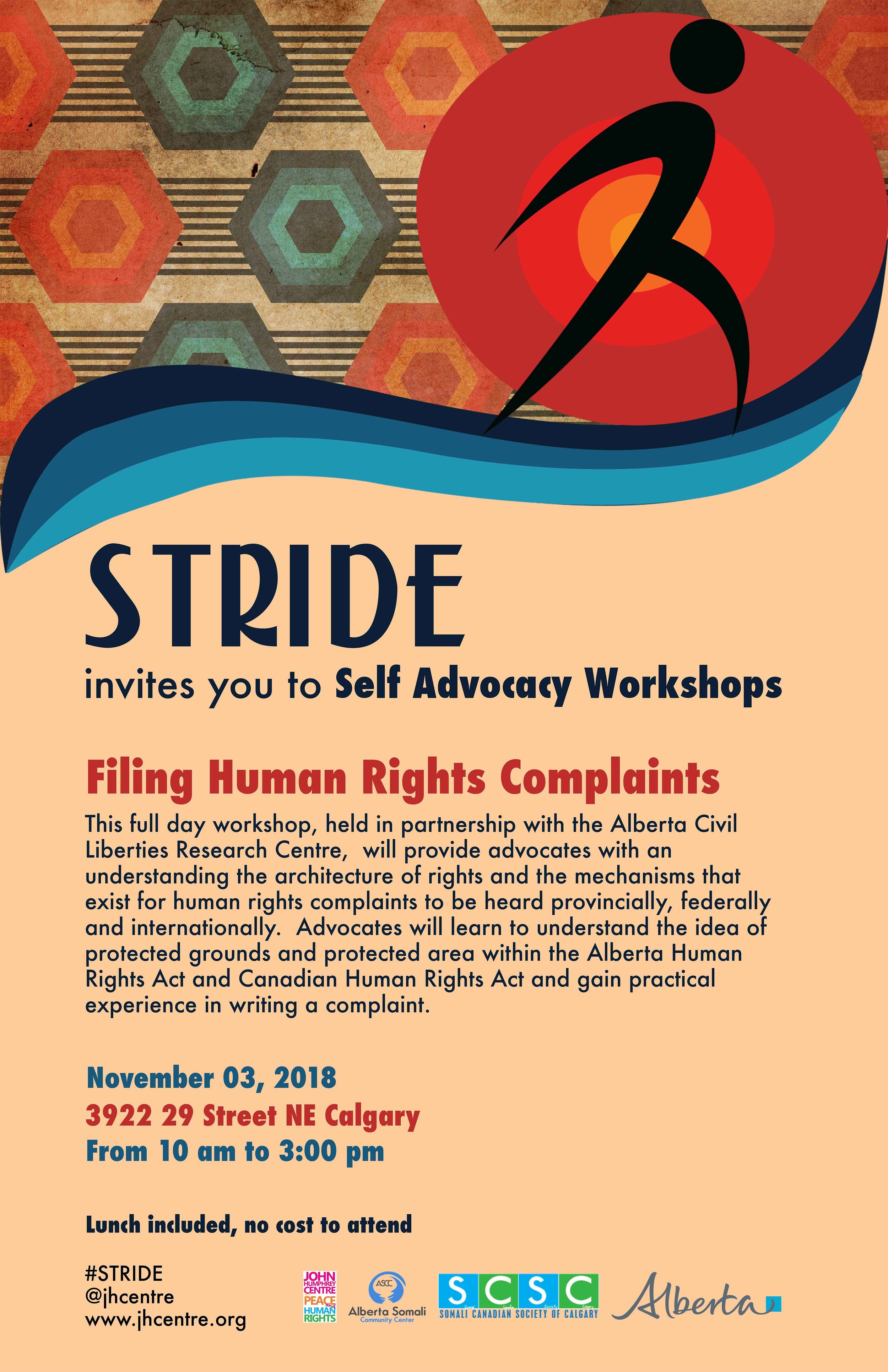 Stride Filing Human Rights Complaints Calgary workshop