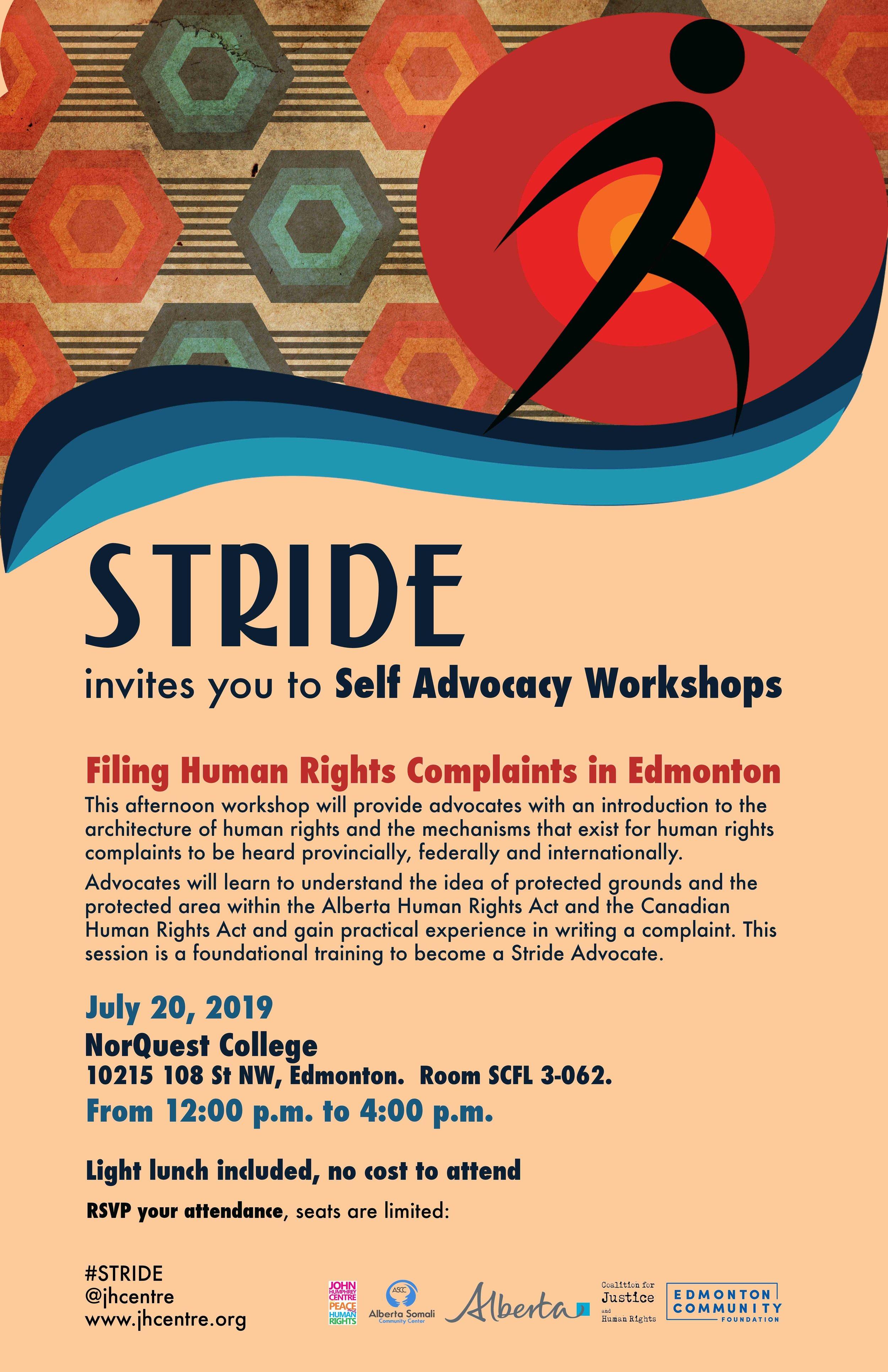 Stride Edmonton: Filing Human Rights Complaints Workshop July 2019