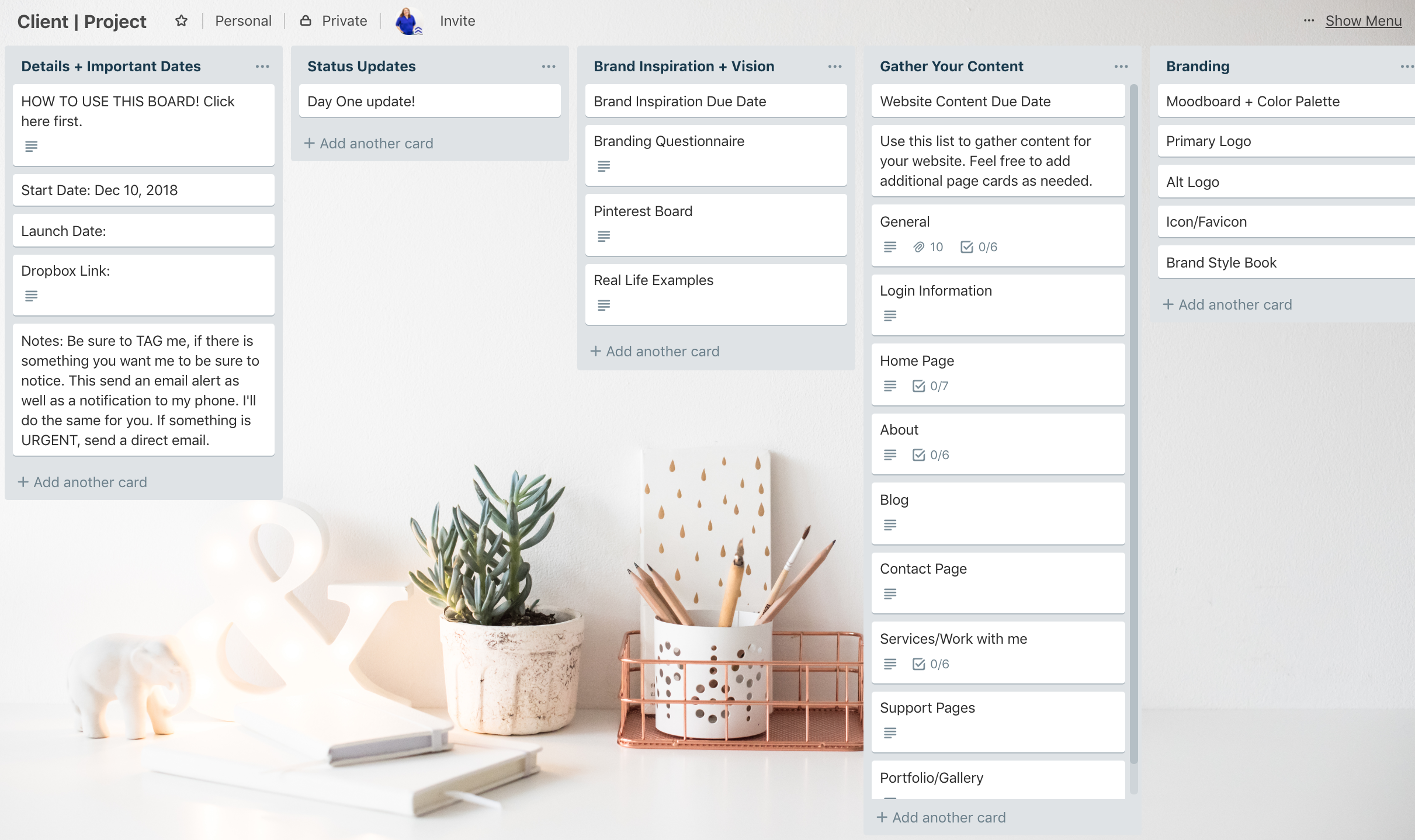 Client Communication Trello Board | 6 Trello Boards You Need To Be Using in Your Coaching Business from Alexander Design Co.