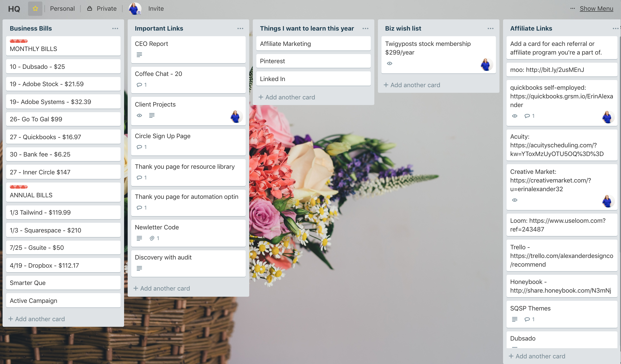 Business HQ Trello Board | 6 Trello Boards You Need To Be Using in Your Coaching Business