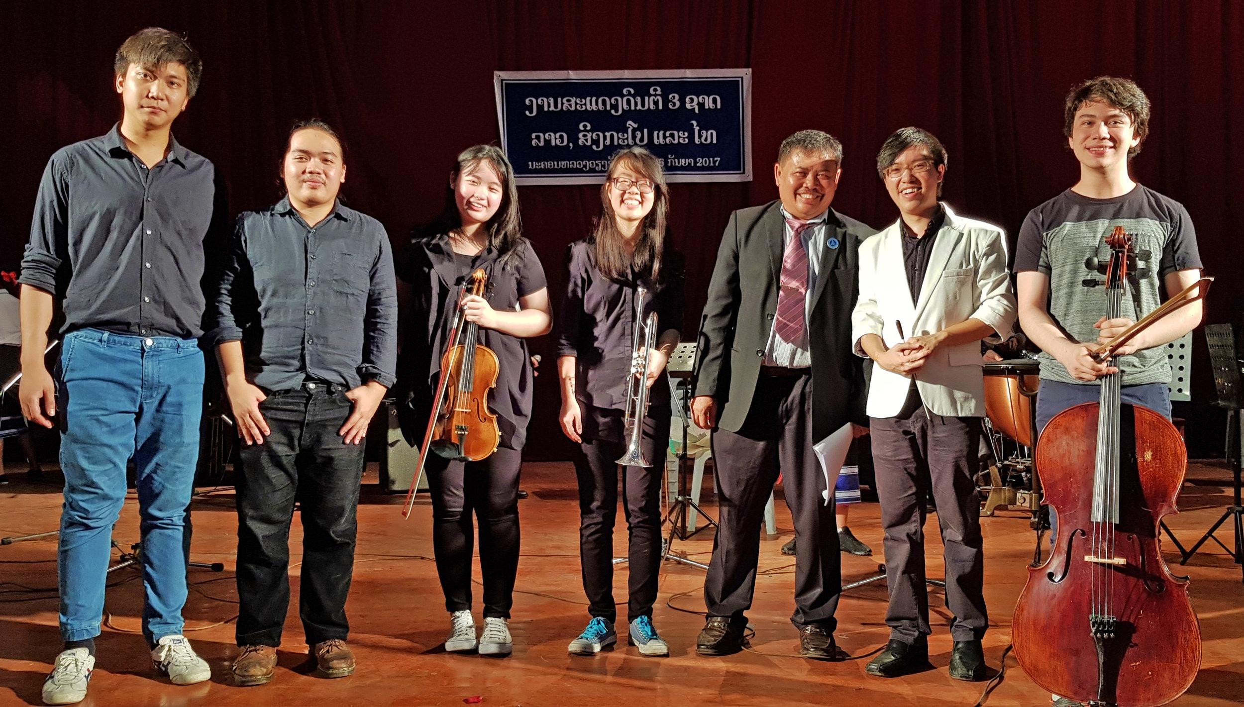 From left: Jirajet Thawornsiri, Chaiyaphat Prempree, Ho Qian Hui, Lee Jia Yi, Mr Saveng (Co-ordinator from NLDMS), Sulwyn Lok and Noah Diggs
