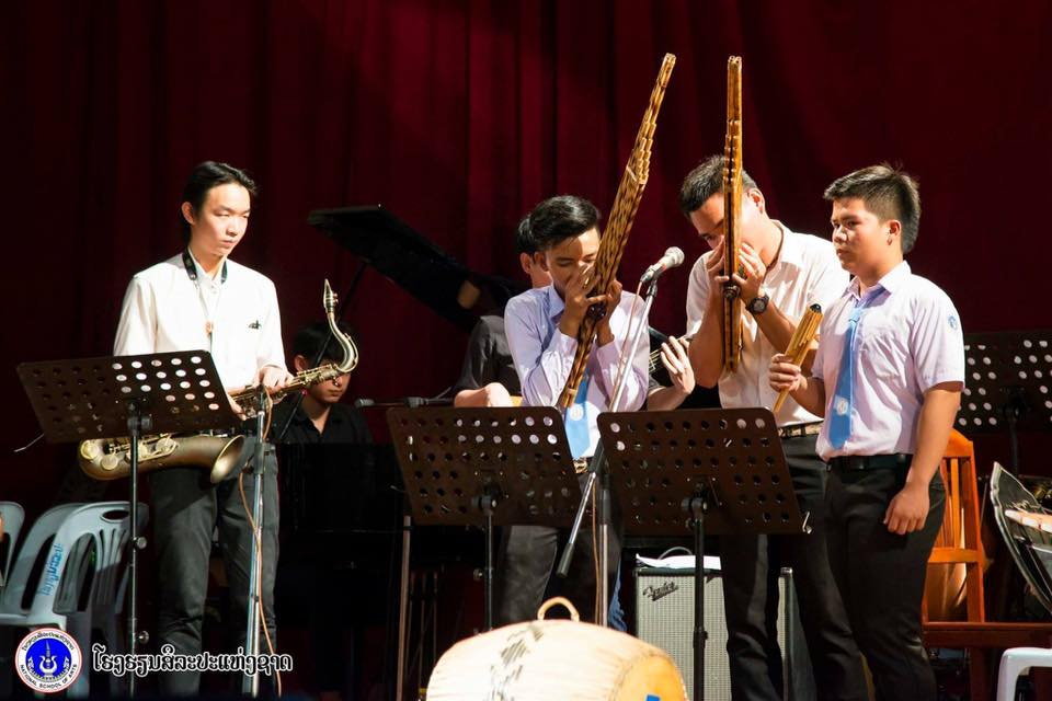 Above: Students from NLDMS with traditional Lao instruments (image courtesy of the National Lao Dance and Music School)