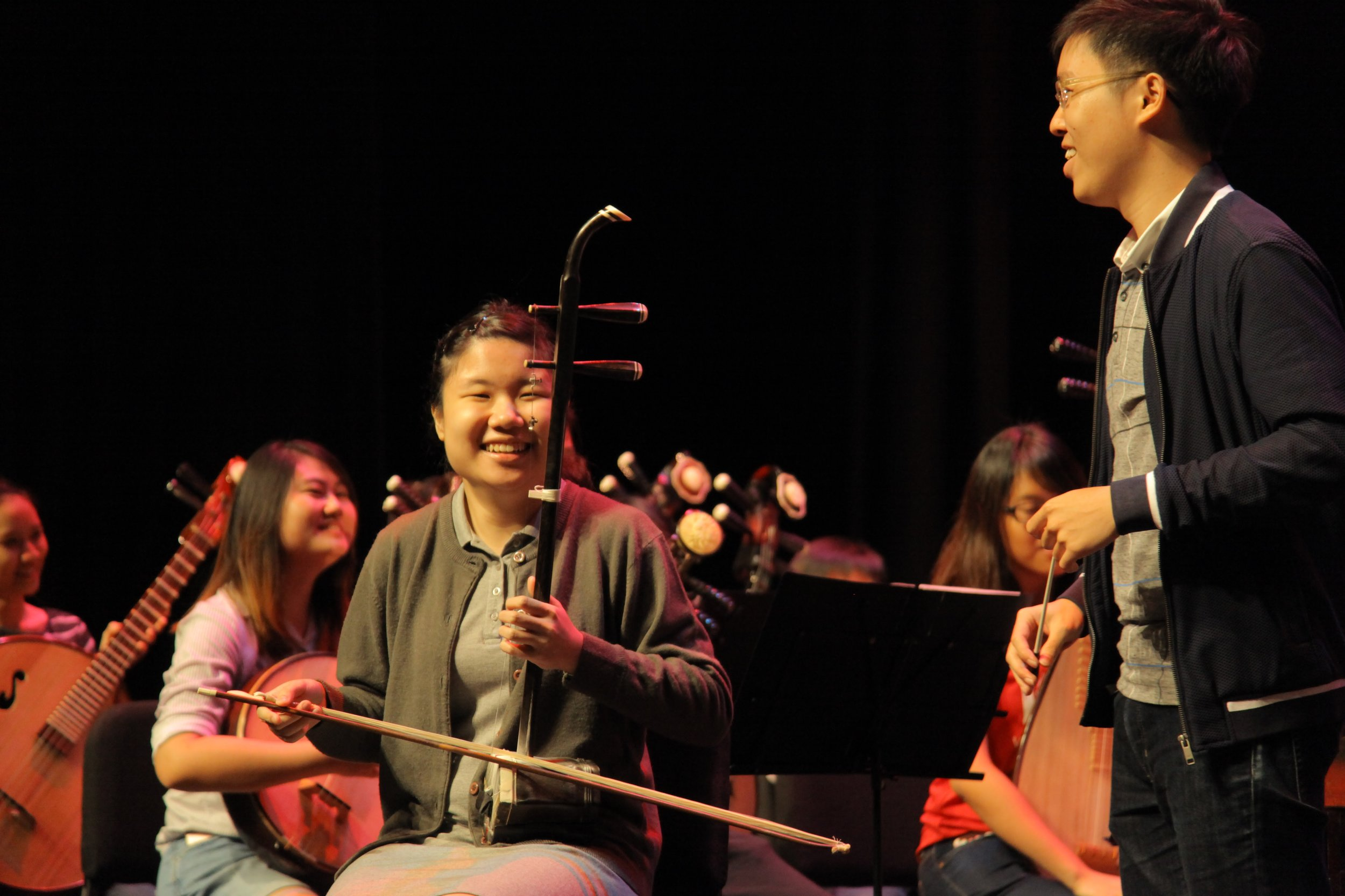 Above: Erhu player Stephanie Ow (centre) with the Victoria Chinese Orchestra.